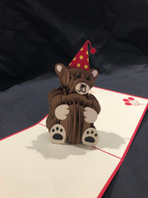 Birthday Bear Handmade 3D Kirigami Card