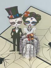 Handmade 3D Kirigami Card  with envelope  Jack and Sally Halloween