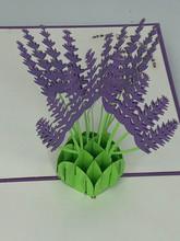 Handmade 3D Kirigami Card  with envelope  Lavender