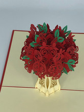 Handmade 3D Kirigami Card  with envelope  Red Valentine's Day Rose
