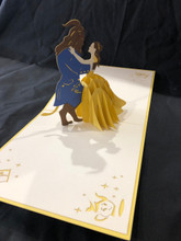 Beauty and the Beast Handmade 3D Kirigami Card with envelope