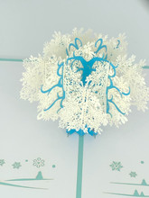 Handmade 3D Kirigami Card  with envelope  Blue Tree Snowflake