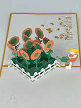 Handmade 3D Kirigami Card  with envelope  Sunflower Garden