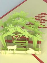 Handmade 3D Kirigami Card  with envelope  Christmas Manger Nativity