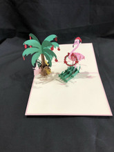 3D Pop Up Card Handcrafted Kirigami Flamingo Christmas