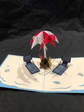 Handmade 3D Kirigami Card  with envelope  Beach Scene