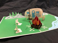 Handmade 3D Kirigami Card  with envelope  Camp Site
