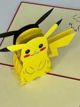 Handmade 3D Kirigami Card  with envelope  Pikachu Pokemon