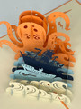 Handmade 3D Kirigami Card  with envelope  Kracken Octopus
