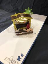Handmade 3D Kirigami Card  with envelope  Blue Nativity Manger Palm Tree