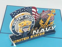 Handmade 3D Kirigami Card  with envelope  US Navy