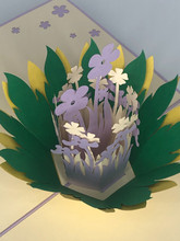 Handmade 3D Kirigami Card  with envelope  Purple Flowers