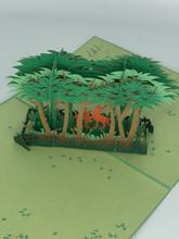 Handmade 3D Kirigami Card  with envelope  Spring Deer