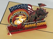 Handmade 3D Kirigami Card  with envelope  Marines US Marine Corps