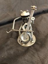 Handcrafted Found Art  Frog Cellist Cello  4 x 3 x 2