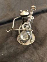 Handcrafted Found Art  Frog Cellist Cello  4 x 3 x 2
