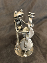 "Handcrafted Found Art   Frog Bass Player  2"" X 6"" X 3"""