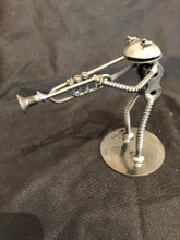 Handcrafted Found Art  Trumpet Playing Frog  4 X 3 X 2