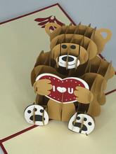 Handmade 3D Kirigami Card  with envelope  Love Bear