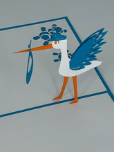 Handmade 3D Kirigami Card  with envelope  Blue Stork Baby Boy
