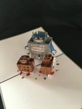 KIRIGAMI CUT PAPER ART  3D POP UP CARD  Robot Family
