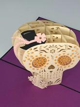 Handmade 3D Kirigami Card  with envelope  Halloween Sugar Skull