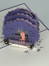 Handmade 3D Kirigami Card  with envelope  Purple Love Whisteria