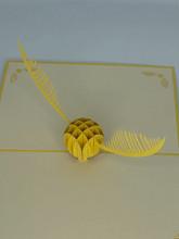 Handmade 3D Kirigami Card  with envelope  Golden Snitch Harry Potter Hogwarts