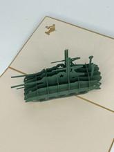 Handmade 3D Kirigami Card  with envelope  Army Tank