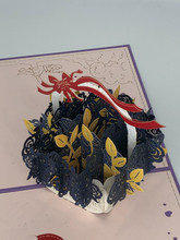Handmade 3D Kirigami Card  with envelope  Valentine's Day Blue Rose Basket