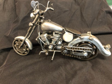 Handcrafted Found Art  Motorcycle 4C  12 x 5 x 5  Moving Parts:  Wheels, Handlebars, chain to make back wheel go around