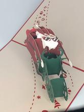 Handmade 3D Kirigami Card  with envelope  Santa Motorcycle Biker