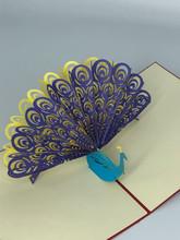 Handmade 3D Kirigami Card  with envelope  Peacock