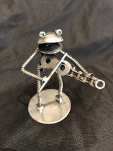 "Handcrafted Found Art   Frog playing violin fiddle  2"" X 6"" X 3"""