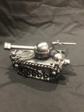 Handcrafted Found Art    Tank  6  X 3  X 3