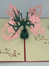 Handmade 3D Kirigami Card  with envelope  Cherry Blossoms Tree  Styles and colors may vary