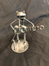 "Handcrafted Found Art    6"" Frog Guitarist Guitar  2"" X 6"" X 3"""
