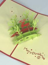 Handmade 3D Kirigami Card  with envelope  Christmas Deer