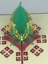 Handmade 3D Kirigami Card  with envelope  Christmas Tree Presents