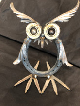 Handcrafted Found Art  Horseshoe Owl  4 x 6 x 6