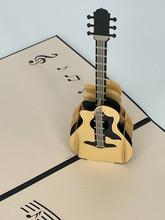 Handmade 3D Kirigami Card  with envelope  Guitar Music