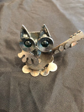 Handcrafted Found Art  Country Owl  4x3x3