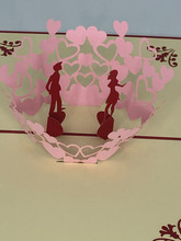Handmade 3D Kirigami Card  with envelope  Kissing Valentine's Day Love