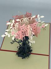Handmade 3D Kirigami Card  with envelope  Pink Roses Flowers