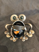 Handcrafted Found Art   Baby Bull Frog  3 x 3 x 3  Marble may vary