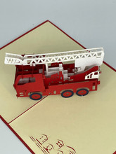 Handmade 3D Kirigami Card  with envelope  Fire Truck