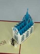 Handmade 3D Kirigami Card  with envelope  Wedding Chapel Church