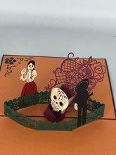 Handmade 3D Kirigami Card  with envelope  Day of the Dead Halloween