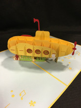 Handmade 3D Kirigami Card Submarine Yellow