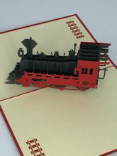 Handmade 3D Kirigami Card  with envelope  Train Locomotive Hogwarts Express